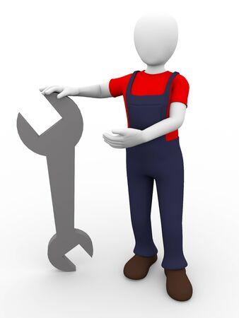 mechanic man: A mechanic is holding a spanner  Technician Stock Photo