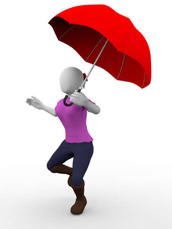 A woman with an umbrella is walking, running or jumping photo
