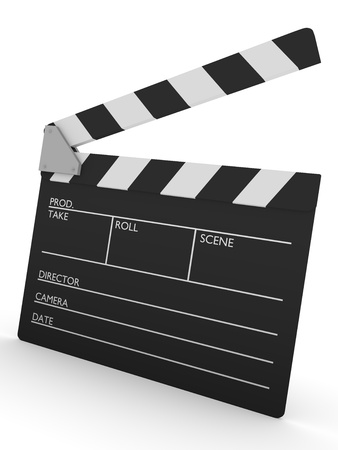 producer: 3d render of an open cinema slate  Stock Photo
