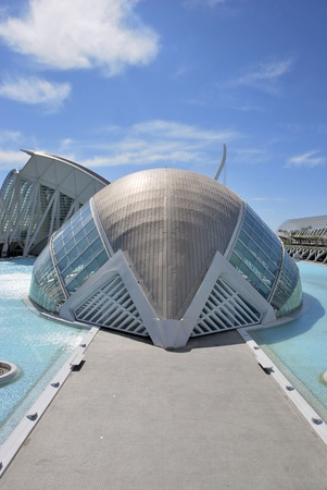 Rear view of the Hemisferic, the Museo de las Ciencias and Umbracle, Valencia, Spain