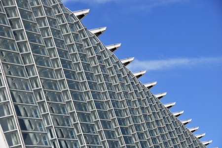 Detail of the structure of Prince Felipe Museum in the City of Arts and Sciences  Valencia, Spain