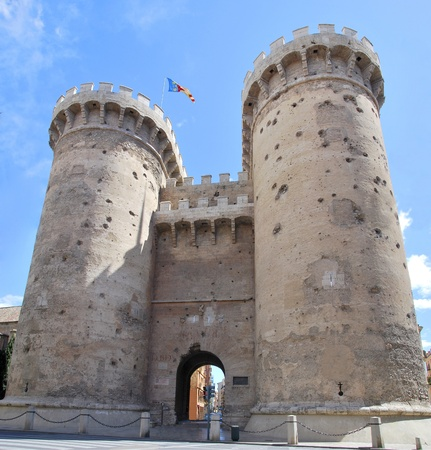 Quart Towers with gunshots of the Independence war in the city of Valencia  Spain