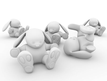 stuffed animals: Some rabbits in white. Cute toys. 3d illustration
