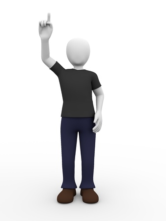 un hombre est� levantando la mano para pedir algo Foto de archivo - 13607476