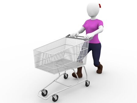 handcart: A woman with a shopping cart. Consumerism concept Stock Photo