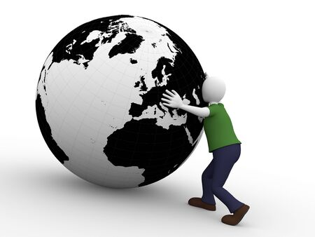 work worker workforce world: A man holds the world with his arms