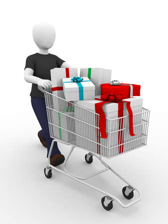 consumerism: A man with a shopping cart full of Xmas gifts. Consumerism concept