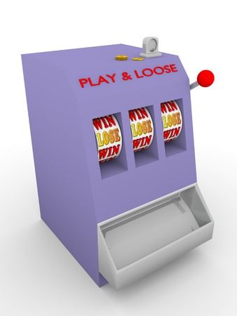 Old fashioned slot machine. Play and lose photo