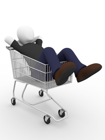 bums: A lying man on a shopping cart. Concept of laziness