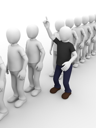 difference: a man in a queue is raising his hand to ask something  Stock Photo