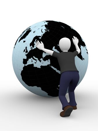 work worker workforce world: A man is pushing the world with his arms  Concept of progress and workforce Stock Photo