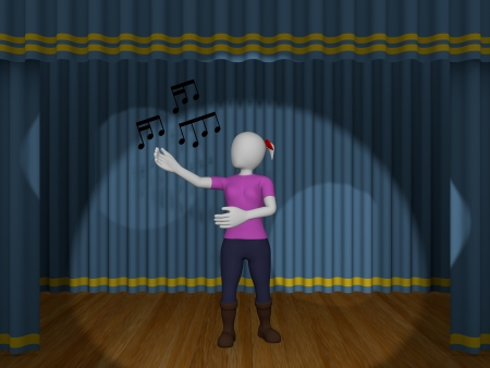 kareoke: A woman is singing a song in the theater