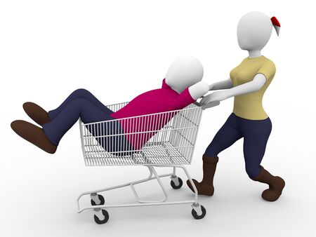 cary: a woman carries a lazy man in a shopping cart  Faint concept Stock Photo