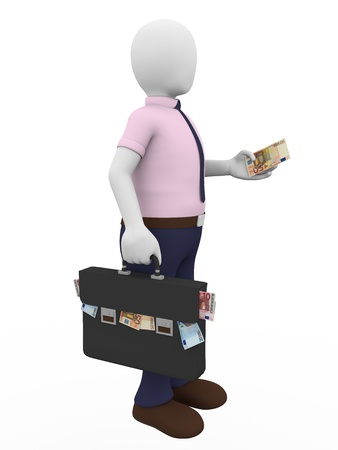 subornation: A man with a briefcase full of euro notes holds a banknote in his hand. Payment