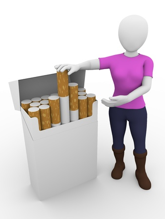 A woman is presenting a box of cigarettes. photo