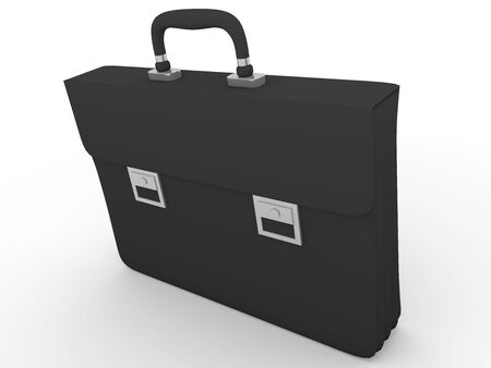 transporting: Leather briefcase in black. Elegant accessory to storage and transporting documents Stock Photo