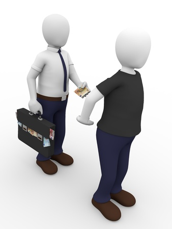 bribe: A man is giving a bribe to another man. Concept of corruption Stock Photo