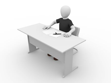 desk clerk: An office worker with his hands on the desk. clerk