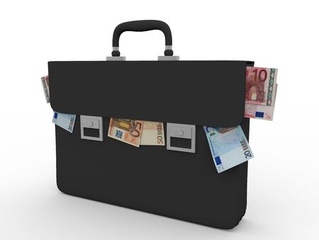 suit case: A briefcase full of euro banknoters. Concept of corruption