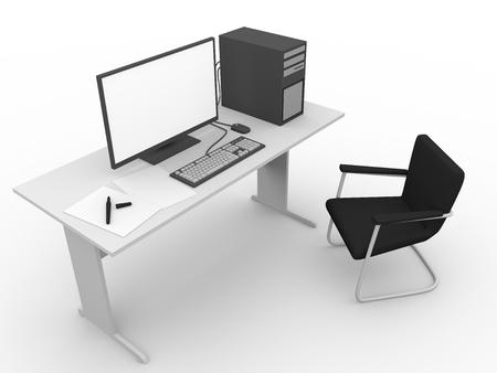 Una computadora en el lugar de trabajo. Negocios y concepto de la tecnolog�a Foto de archivo - 13839258