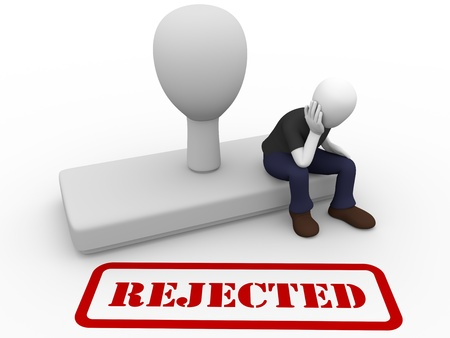 A man is worried by a rejection printed with a rubber stamp