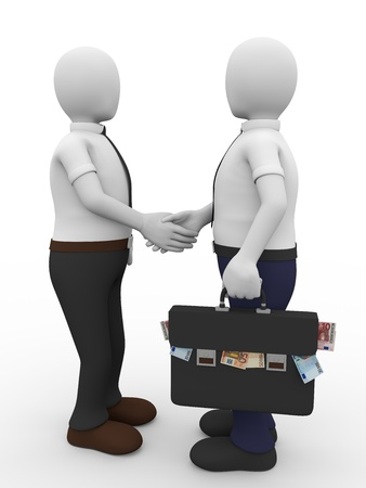 corruption: A man with a briefcase full of euro notes gives a handshake to another. Bribe