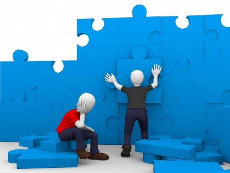 Two men are solving a puzzle in blue photo