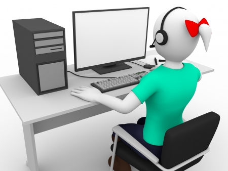 center table: Call center. Girl with headphones at her workplace
