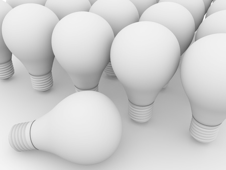 metal light bulb icon: Some white lightbulbs. Electricity and power business concept.
