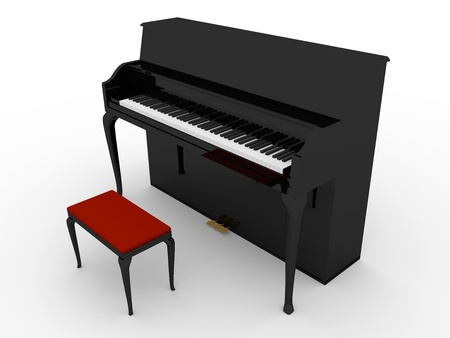 3d render of a piano in black with a chair in red photo
