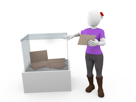 A woman with her vote near a ballot box photo