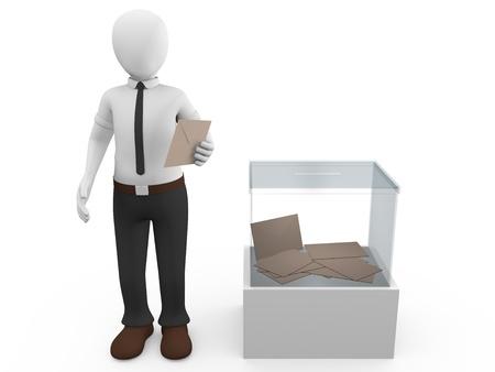 A man with his vote near a ballot box photo
