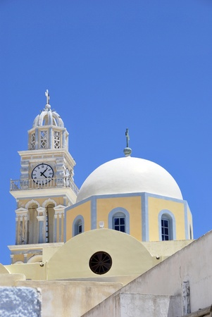 thera: Catholic Cathedral with dome and belfry.  Fira (Thera), Santorini, Greece.
