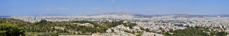 panoramic roof: City of Athens panoramic view. Cityscape of the capital of Greece as seen from Acropolis Stock Photo