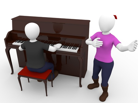 A woman sings a song with a pianist man photo