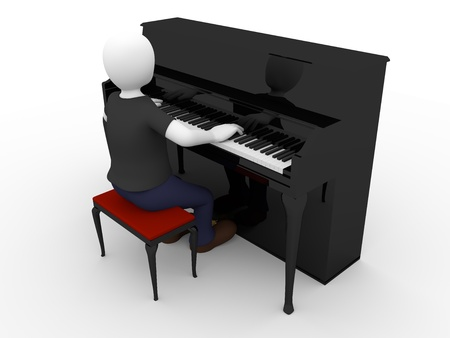 A man is playing a black piano photo