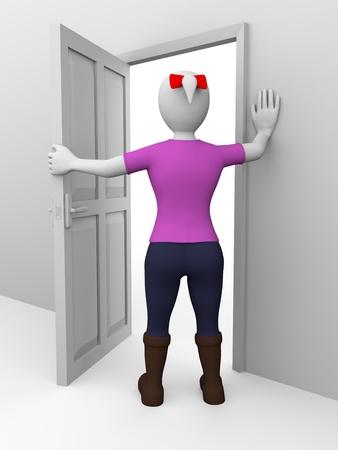 abriendo puerta: Una mujer se está abriendo una puerta. Concepto de seguridad Foto de archivo