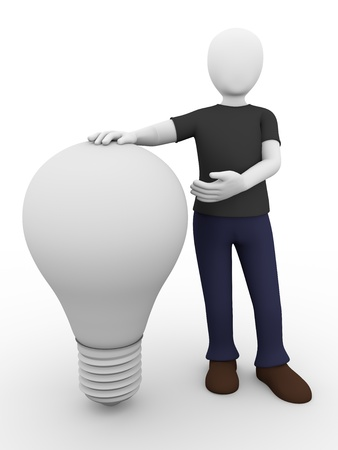 thomas: a man is presenting a light bulb. Electrical concept Stock Photo