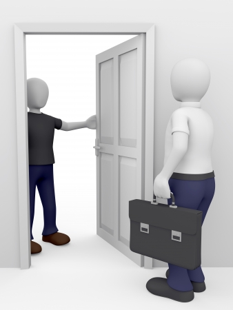 knocking: Door to door.  Customer and salesman. A big offer at home. Stock Photo
