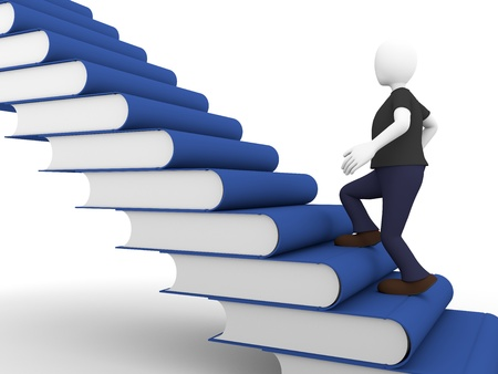a man acquires knowledge over a ladder made of books photo