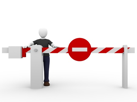 halt: A man and a forbidden barrier. Security and safety concept