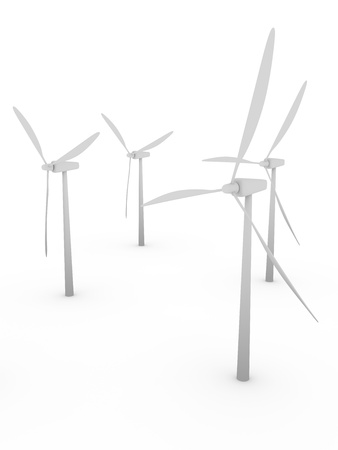 mechanical energy: A group of wind mills in white. Electric energy generators
