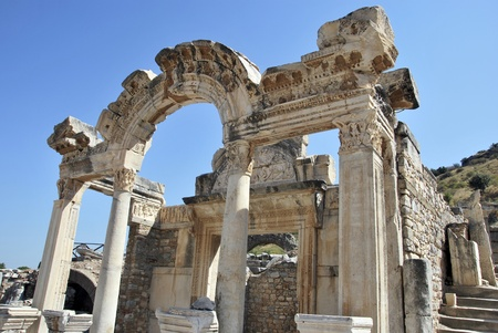 hadrian: Detail of Hadrians temple in Ephesus. Turkey Stock Photo