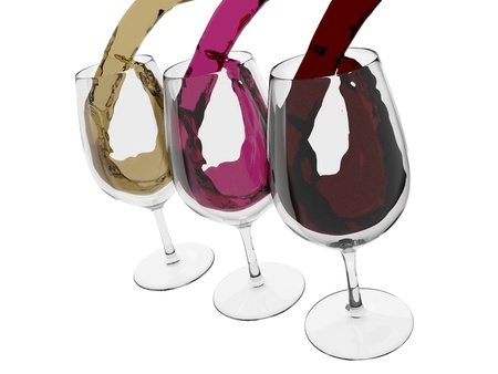 vino: three wine glasses. Red, rose and white wines