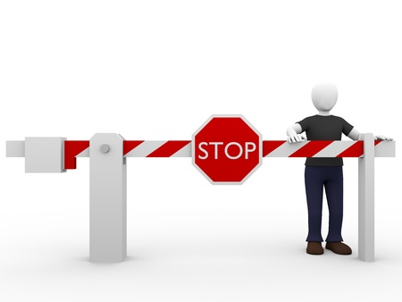 blocked: A man and a stop barrier. Security and safety concept Stock Photo