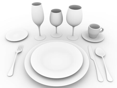 dining set: complete set of tableware. Fork, spoon, plates, knife, coffee cup and glasses
