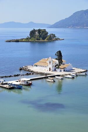 corfu: Monastery of Vlacherna and Pontikonisi island in Kanoni, Corfu, Greece