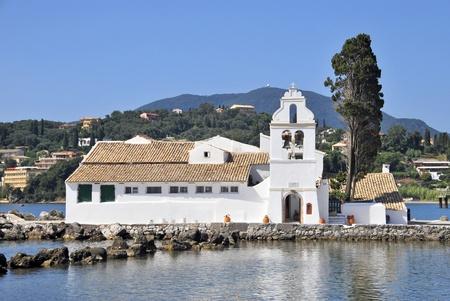 greek alphabet: Vlacherna monastery and church in Kanoni, Corfu, Greece