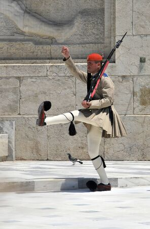 syntagma: Greek soldier marching during the Changing of the Guard Ceremony near Syntagma Square