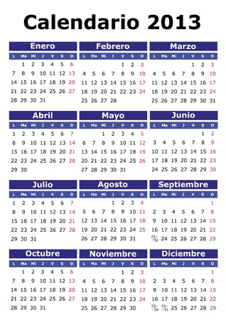 2013  calendar in Spanish. Easy for edit and apply Vector
